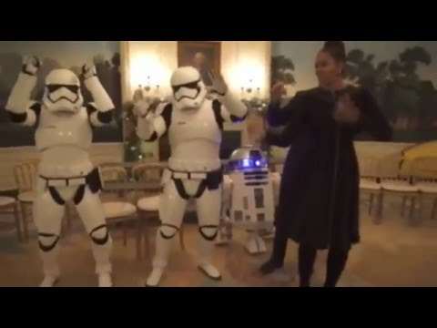 President Obama dances with storm troopers on Star Wars Day