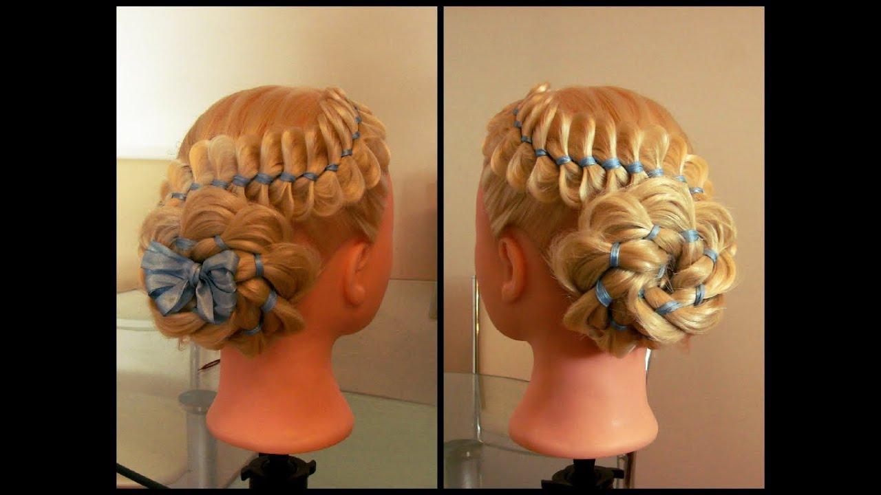 Причёска из четырёх прядей с лентой