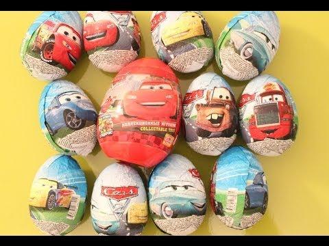 12 Kinder Surprise Eggs Disney Pixar Lightning McQueen Mater cartoys Zaini Easter Egg