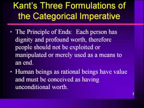 three formulations of the categorical imperative essay Free essay: in kant's book, groundwork of the metaphysics of morals, kant talks about the three formulations of the categorical imperative by these.