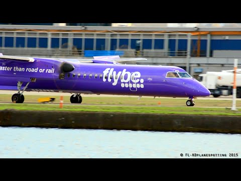 Flybe Purple livery Bombardier Dash 8 at London-City [LCY/EGLC] !
