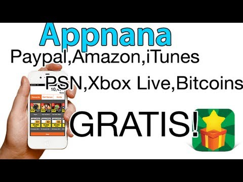 Appnana: Tarjetas de Paypal, Amazon, iTunes, PSN, Xbox live GRATIS! iPhone/iPod/iPad Y Android!
