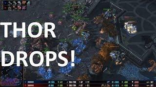 Starcraft 2 - TvZ - THOR DROPS! - TIME vs SortOf on Cerulean Fall