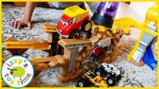 Cars for Kids! TONKA CHUCK STUNT PARK With Monster Trucks!