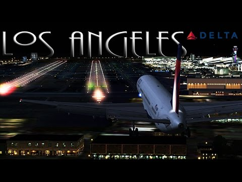 FSX [HD] - Delta Airlines | Boeing 757-300 | Night Approach | LAX