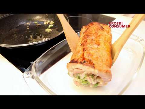 Lomo de cerdo relleno con salsa de ciruelas
