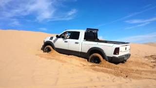 Ram stuck in sand, Real trucks don't shift themselves.�
