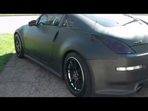 1 sick flat black nissan 350z with hide away lisense plate,satin matte  black nissan 350z done to