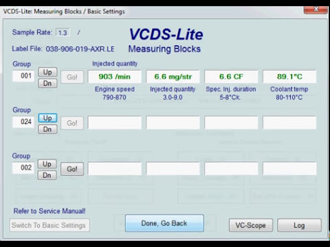VW Golf 4 TDI PD VCDS measuring blocks