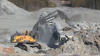 Volvo EC480EL - L220H OptiShift - Working in a quarry with Metso crushers