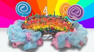 RAINBOW SHAPED CAKE WITH TONS OF CANDIES, MARSHMALLOWS AND COTTON CANDY!