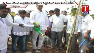 MLA Harish Rao Plants A Sapling in the Eve of CM KCR Birthday  live Telugu