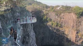 Thrilling! Glass bottom skywalk opens at world's 1st quarry hotel