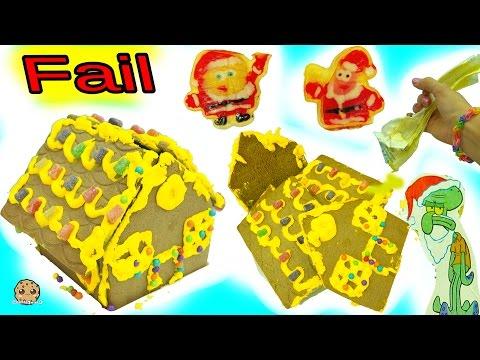 Falling Down Fail Video - Making Spongebob Squarepants Holiday Gingerbread House Cookie Kit