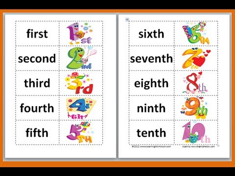 Numbers in English to Spanish Spanish Ordinal Numbers