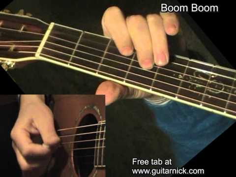 Boom Boom, John Lee Hooker - flatpicking blues, acoustic guitar lesson&TAB! Learn to play