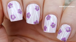 Lavender Pink FLOWER NAIL ART With Curvy Lines