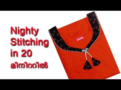 Nighty cutting and stitching tutorial Malayalam, nighty neck design cutting and stitching 2