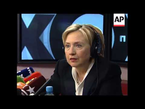 Clinton at radio show discusses Georgia and the killing of journalists in Russia