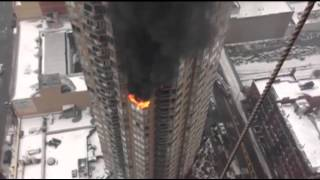 Raw: 2 Critically Injured in (N.Y) High-rise Fire  1/5/13