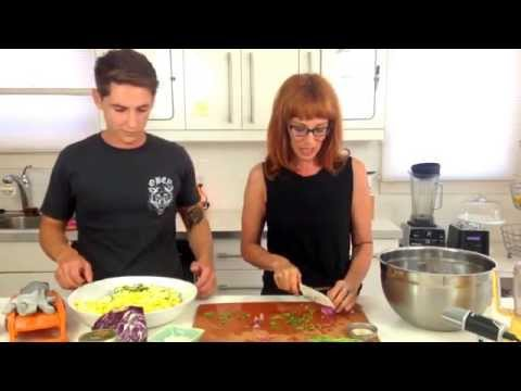 Raw Nutty Spicy Zucchini Pasta Salad In A Flash - Dara Dubinet video