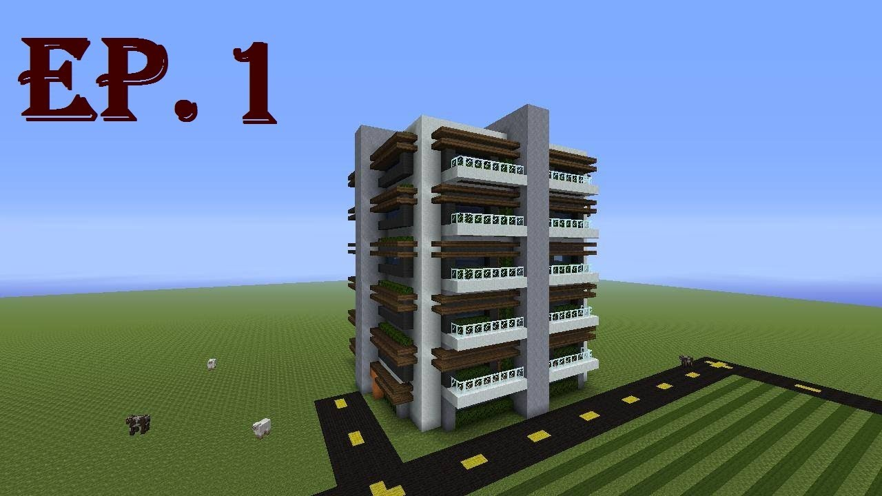 how to build a modern apartment complex in minecraft part 1 youtube. Black Bedroom Furniture Sets. Home Design Ideas