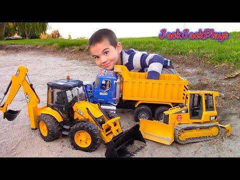 Bruder Toy Trucks for Kids - UNBOXING JCB Backhoe - Dump Truck, Tractor Loader, Bulldozer