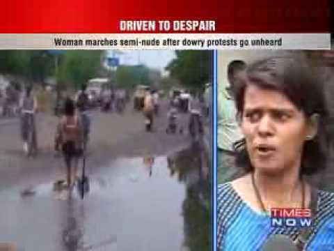 Indian women Pooja Chauhan walking semi nude in streets to protest dowry