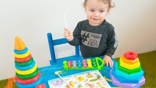 LEARN COLORS SHAPES with Sorter Toy, Children's Pyramid, Soccer Ball Baby Monkey Finger Song