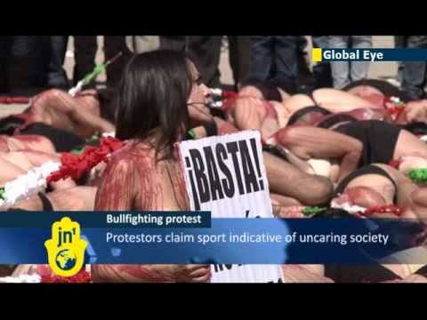 Naked anti-bullfighting protest: Mexican girls strip off as they denounce sport as