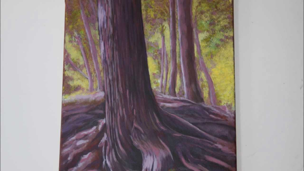 Acrylic Painting Techniques Backlit Trees Youtube
