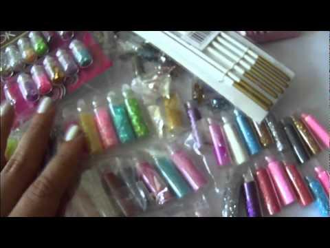 Tutorial de uñas cortas usando escarcha y compras de articulos para adornar uñas :)