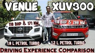 Hyundai Venue VS Mahindra XUV300 - Turbo Petrol Engine Comparison, Real Life Mileage & Review हिन्दी