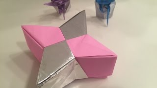 【折り紙】Origami 4star Box ★How to make Origami box