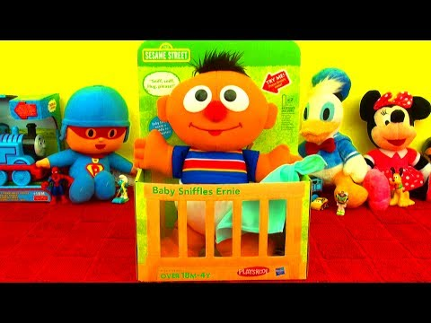 Baby Sniffles Ernie Sneezes on Cookie Monster Mickey Mouse Thomas Tank 123 Sesame Street Disney Toys