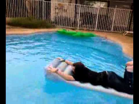 Tianna faling into my. Pool on a raft screaming!