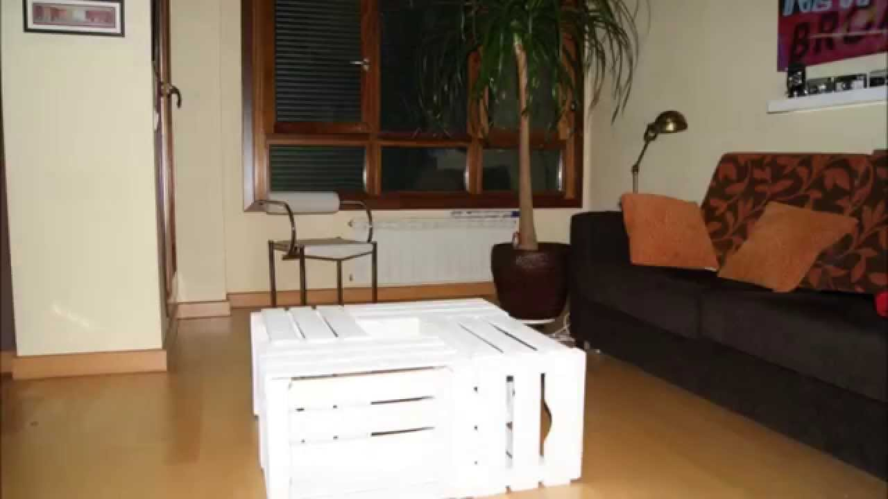 Diy c mo hacer una mesa con cuatro cajas de fruta youtube for Como disenar una mesa