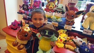 Making A FUN SQUIRTLE & EEVEE at Build A Bear! ETHANS FAVORITE POKEMON! Exclusive Pokemon Cards!