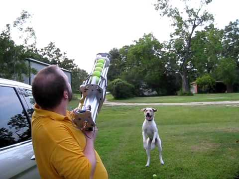 First Fire Tennis Ball Cannon 2 Youtube