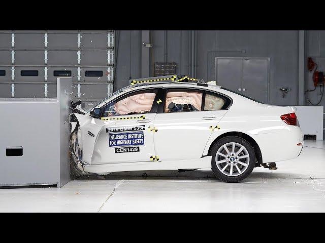 2014 BMW 5 series small overlap IIHS crash test - YouTube