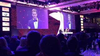 Sebastian Vettel swearing at the Autosports Awards 2013