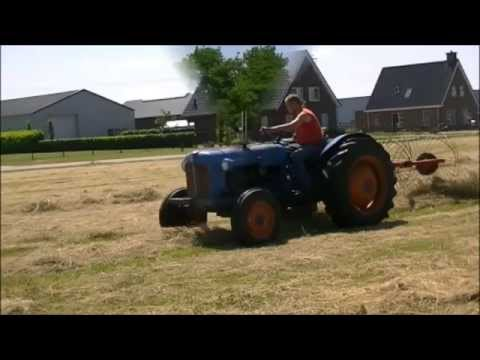 Raking hay with a Fordson Dexta and Vicon Acrobat.