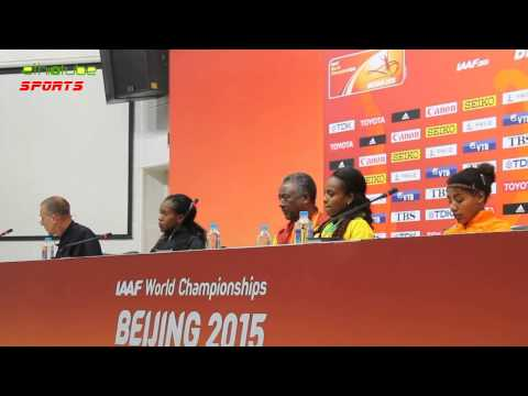 BEIJING 2015 - Press Conference with Women's 1500m Gold Medalist Genzebe Dibaba   August 25, 2015