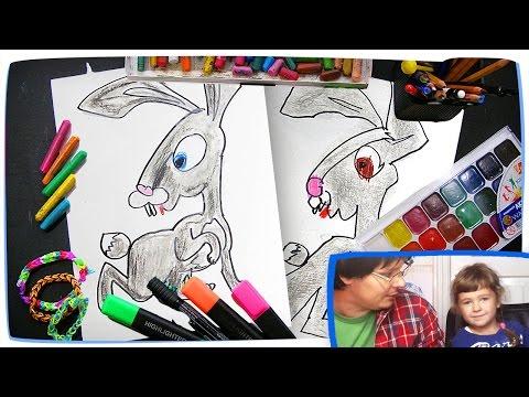 Видео как нарисовать зайца и медведя
