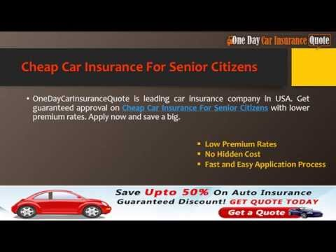 Cheap Auto Insurance For Senior Citizens -- Guaranteed Full Policy With Lower Premium Rates