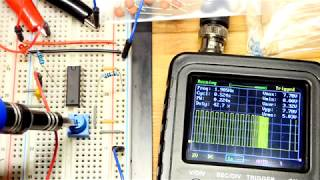 First 4046 voltage controlled oscillator circuit VCO oscilloscope and LED circuit CD4046 CD4046B