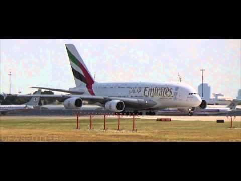 Emirates Airbus A380 First Flight to Dallas/Fort Worth International Airport [HD]