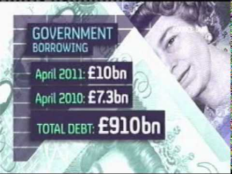government borrowing up - total debt 910bn - austerity measures tuc student protest riot 24-05-11
