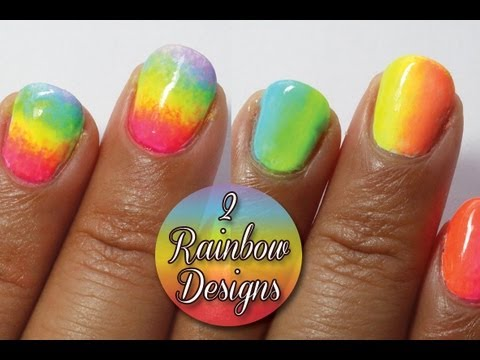 Rainbow ombre and tie dye nails