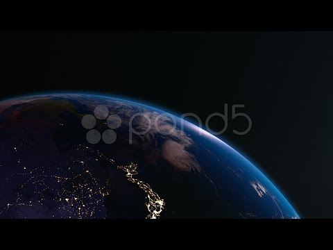 4K Earth View From Space With Night City Lights. Asia.. Stock Footage